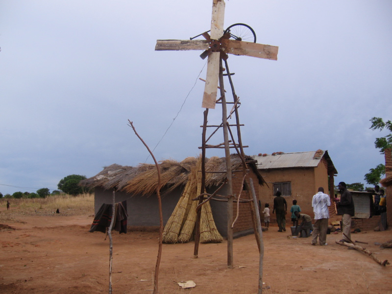 Windmill built by William Kamkwamba in his village in Malawi.  This first windmill powered four lights.